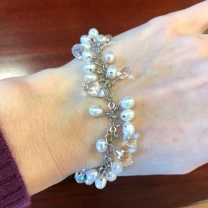 Bloomingdale's Jewelry - Real Crystal Pearls Breast Cancer Ribbon Bracelet